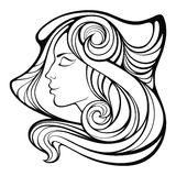 Vector decorative portrait of shaman girl with  long hair i Royalty Free Stock Image
