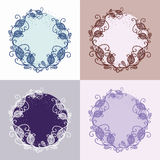 Vector decorative round frame with floral elements. Decorative round frame with floral elements in several pastel versions Stock Photos