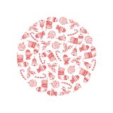 Vector decorative round from red Christmas symbols. On white background - candy cane, tree ball, mitten, sock, holly, christmas bell. Christmas decorative vector illustration