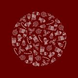 Vector decorative round from white Christmas symbols. On red background - candy cane, tree ball, mitten, sock, holly, christmas bell. Christmas decorative royalty free illustration