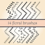 14 Vector Decorative Scribble Paintbrushes Royalty Free Stock Photo