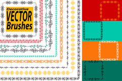 Vector Decorative Scribble Paintbrushes with Inner and Outer Corners. Hand Drawn Ink Brushes. Seamless Whimsical Borders for Patte. Rned Frames. Dividers Royalty Free Stock Images