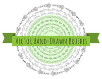 Vector Decorative Scribble Paintbrushes with Inner and Outer Corners. Royalty Free Stock Photo