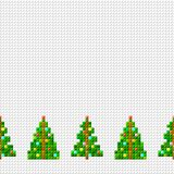 Vector decorative seamless border of pixel art Christmas tree with garland on pixel background. Vector decorative seamless border of pixel art Christmas tree vector illustration
