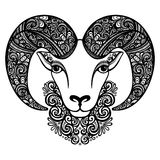 Vector Decorative Sheep with Patterned Horns Royalty Free Stock Image
