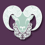 Vector Decorative Sheep with Patterned Horns Royalty Free Stock Photo