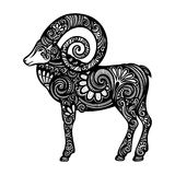 Vector Decorative Sheep with Patterned Horns Royalty Free Stock Images