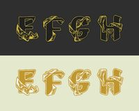 Vector decorative sketch alphabet set of uppercase letters. Gold elegant letter E, F, G, H. Font of interlocking ribbons. Drawn by hand and decorated with a stock illustration