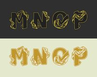Vector decorative sketch alphabet set of uppercase letters. Gold elegant letter M, N, O, P. Font of interlocking ribbons. Drawn by hand and decorated with a Royalty Free Stock Image