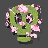 Vector decorative skull woth fantasy flowers on grey background. Stock Images