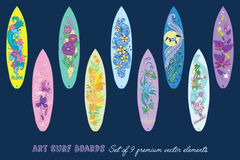 Vector Decorative Surf Boards Set 9 Elements. Seamless Pattern graphic design Stock Images