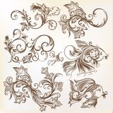 Vector decorative swirl ornaments and fishes for design Royalty Free Stock Photography