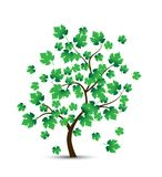 Vector decorative tree and green leaves vector illustration
