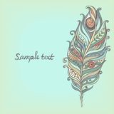 Vector Decorative Vintage Feather. Hand-drawnΠRoyalty Free Stock Photos