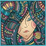 Vector decorative winter girl portrait illustration Stock Images