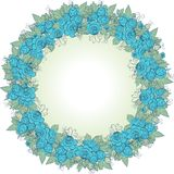 Vector decorative wreath of blue flowers Stock Photography