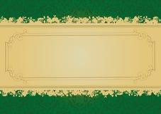 Vector decorativo de la bandera del verde y del oro de la vendimia Fotografía de archivo libre de regalías