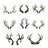 Vector deer antlers silhouette isolated on white Stock Photos