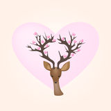 Vector Deer and Hearts Stock Photos
