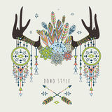 Vector deer horns with dream catchers Royalty Free Stock Images