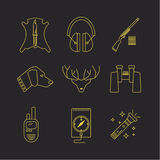 Vector deer hunter icons. Royalty Free Stock Photography