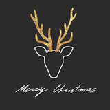 Vector deer postcard. Royalty Free Stock Photos