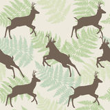 Vector deer seamless background with fern.  Stock Photo