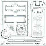 Vector dekorative Elemente für das Design des Diploms, der Anzeigen, des Umschlags, der Hochzeit und der Einladungen oder der Gru Stockfotos