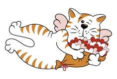 Vector dekorative Katze mit blinzelnde Flügel und Blumenstrauß von Herzen lizenzfreies stockfoto