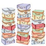 Vector dekorativen Stapel der Karikatur alte Retro- Koffer Hand gezeichneter Satz dekorative Koffer Gezeichneter Hintergrund des  Lizenzfreie Stockfotos