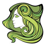 Vector dekoratives Frühlingsporträt des Medizinmannmädchens mit grünem langem Stockbilder