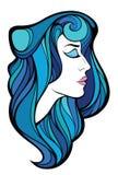 Vector dekoratives Porträt der Schönheitsfrau mit dem blauen langen Haar Lizenzfreies Stockfoto