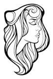 Vector dekoratives Porträt der Schönheitsfrau mit dem langen Haar Stockbild