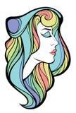 Vector dekoratives Porträt der Schönheitsfrau mit langem Haar isolat Stockbild