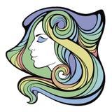 Vector dekoratives Porträt des Medizinmannmädchens mit dem Farblangen Haar Lizenzfreies Stockbild