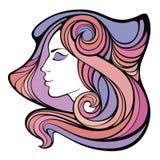 Vector dekoratives Porträt des Medizinmannmädchens mit dem Farblangen Haar Lizenzfreie Stockbilder