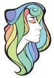 Vector dekoratives Porträt des Medizinmannmädchens mit dem langen Haar des Regenbogens Stockbilder