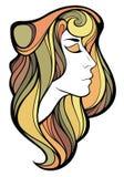 Vector dekoratives Porträt des Medizinmannmädchens mit Farblangem Haar I Lizenzfreies Stockfoto