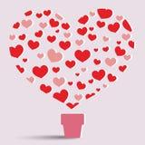 Vector del árbol y de la letra O del corazón Foto de archivo libre de regalías
