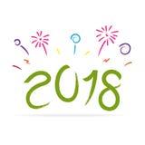 Vector del Año Nuevo 2018 con el fuego artificial colorido Fotos de archivo libres de regalías