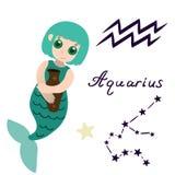 Vector del aislante de la sirena de la historieta de la muestra del zodiaco del acuario stock de ilustración