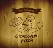 Vector del anuncio de la pizza con el carácter Imagen de archivo libre de regalías