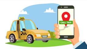 Vector del App del taxi de la orden Smartphone de la explotación agrícola de la mano Llame un concepto del móvil del taxi Uso par stock de ilustración