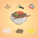 Vector del arroz en cuenco con los pescados Foto de archivo libre de regalías