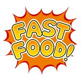 Vector del arte pop del cómic de la palabra de los alimentos de preparación rápida Fotografía de archivo libre de regalías