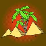 Vector del arte pop de las pirámides y de las palmeras de Egipto Fotografía de archivo