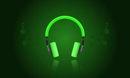Vector del auricular de la luz verde Fotos de archivo