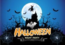 Vector del azul del partido de la noche de Halloween Imágenes de archivo libres de regalías