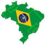Vector del balón de fútbol con el mapa y de la bandera del Brasil fotografía de archivo libre de regalías