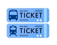 Vector del boleto del omnibus y de tren